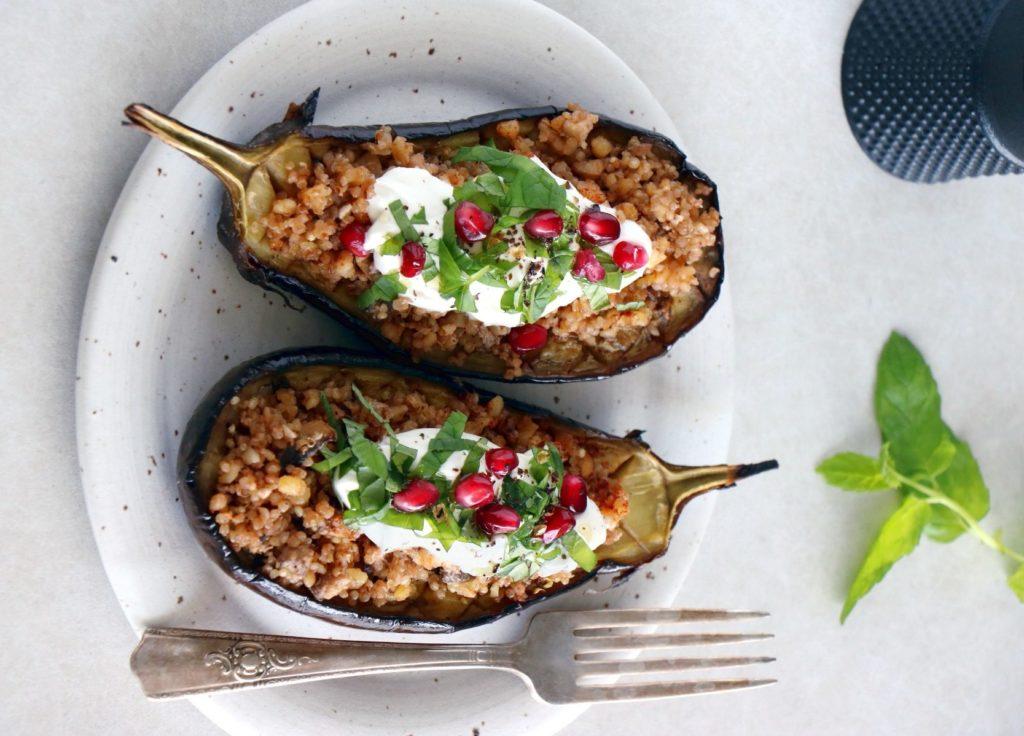 recette de quinoa à l'aubergine et aux épinards follow sur